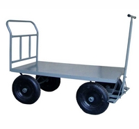 Carrinho de carga com plataforma de aço e quatro abas